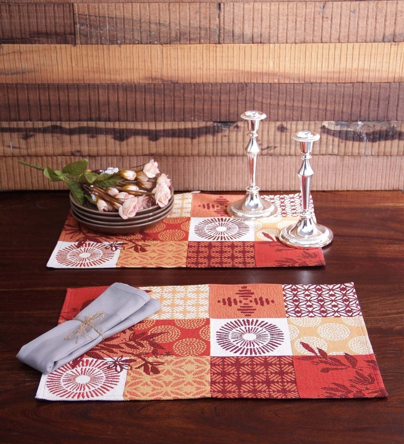 Avira Home Orange Cotton Abstract Table Mat - Set of 2
