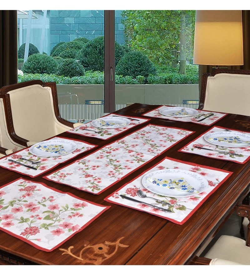 Avira Home Multicolour Blossom Table Mats & Table Runner - Set of 7