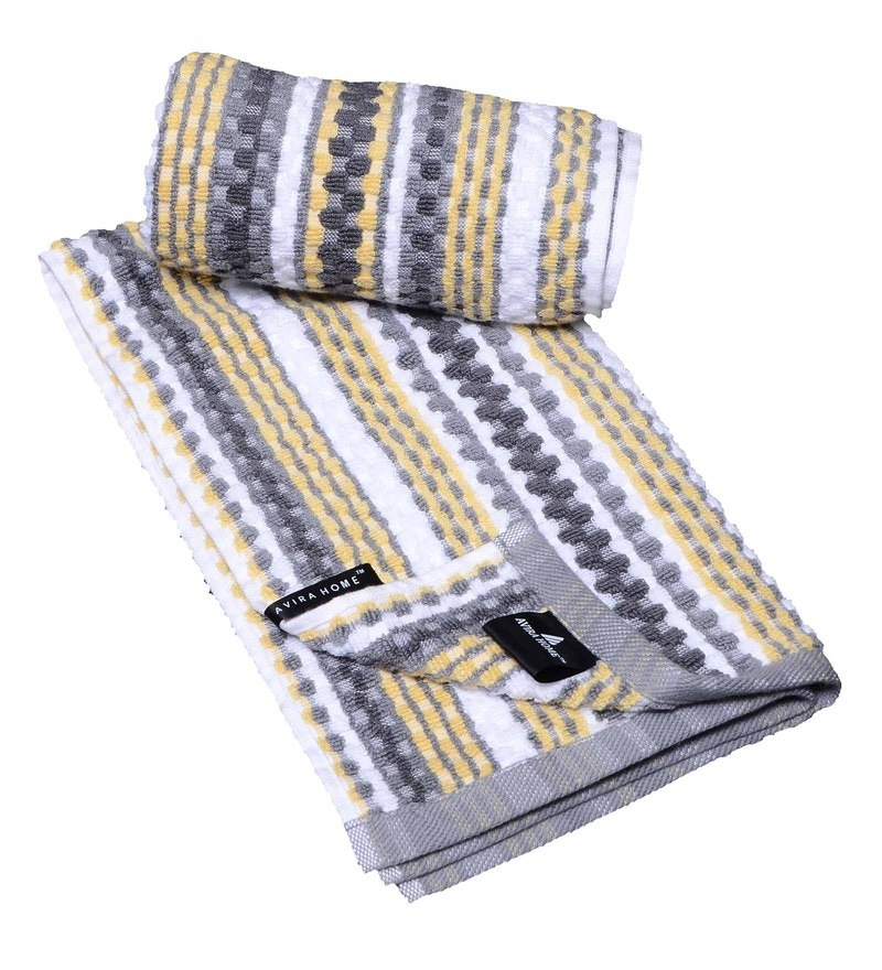 Multicolour Cotton 16.1 x 28.3 Inch Manhattan Stripe Waffle Hand Towel - Set of 2 by Avira Home