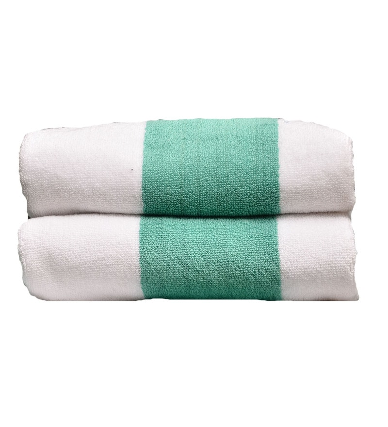 Green & White Cotton 19.69 x 35.43 Inch Summer Time Stripe Towels - Set of 2 by Avira Home