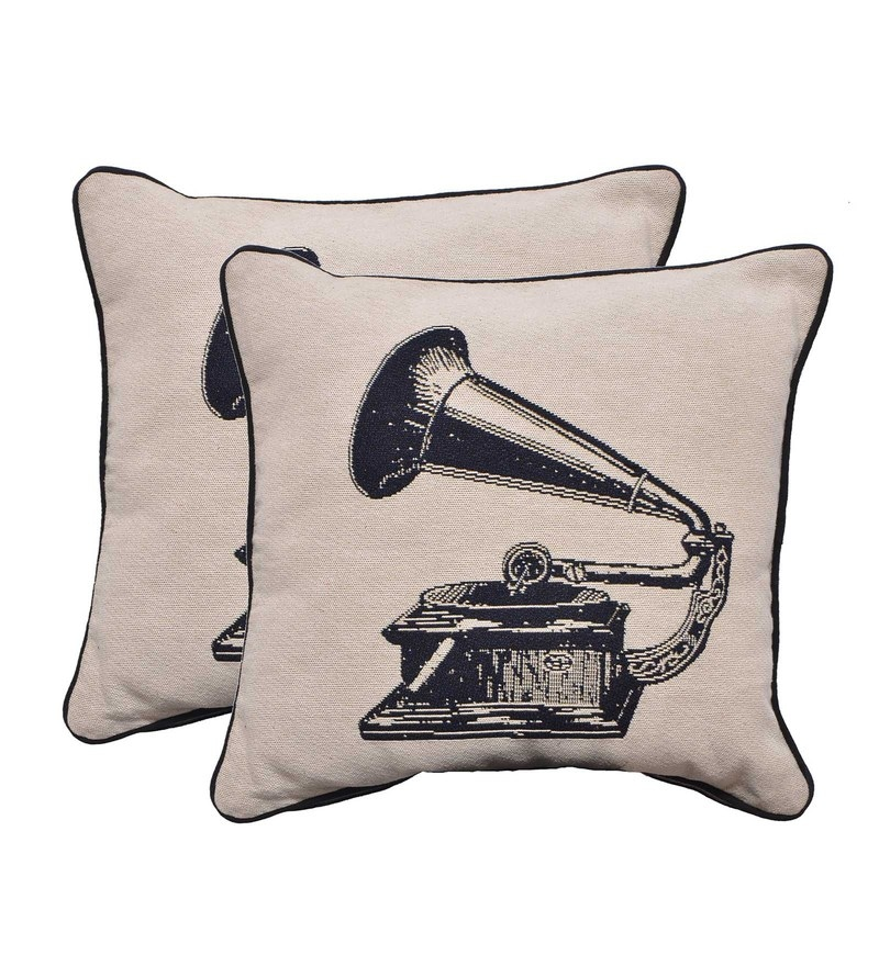 Multicolour Poly Cotton 17.7 x 17.7 Inch Gramaphone Cushion Cover - Set of 2 by Avira Home
