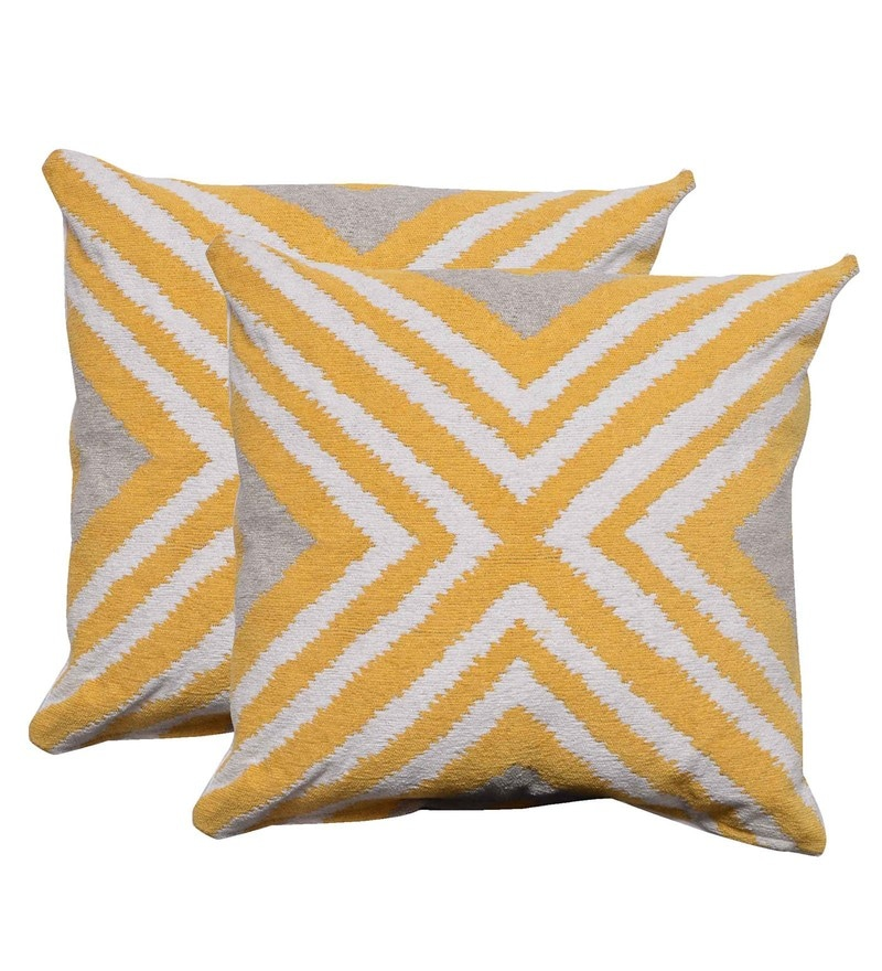 Multicolour Poly Cotton 17.7 x 17.7 Inch Linear Cushion Cover - Set of 2 by Avira Home