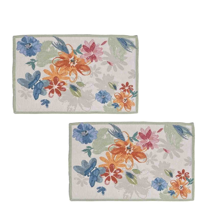 Avira Home Pop Flowers Multicolour Cotton & Polyester Placemats - Set of 2