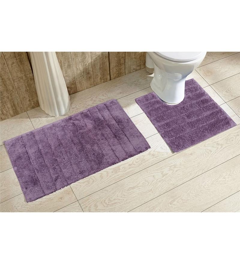 Avira Home Purple 100% Cotton Bath and Toilet Mat  - Set of 2