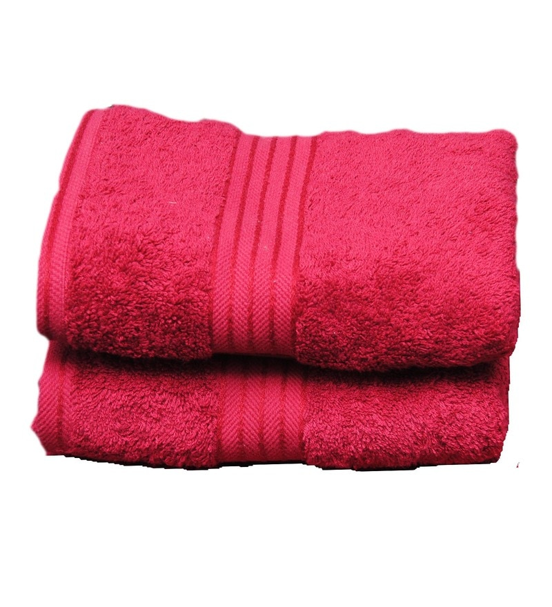 Burgundy Cotton 19.69 x 35.43 Inch Egyptian Towels - Set of 2 by Avira Home