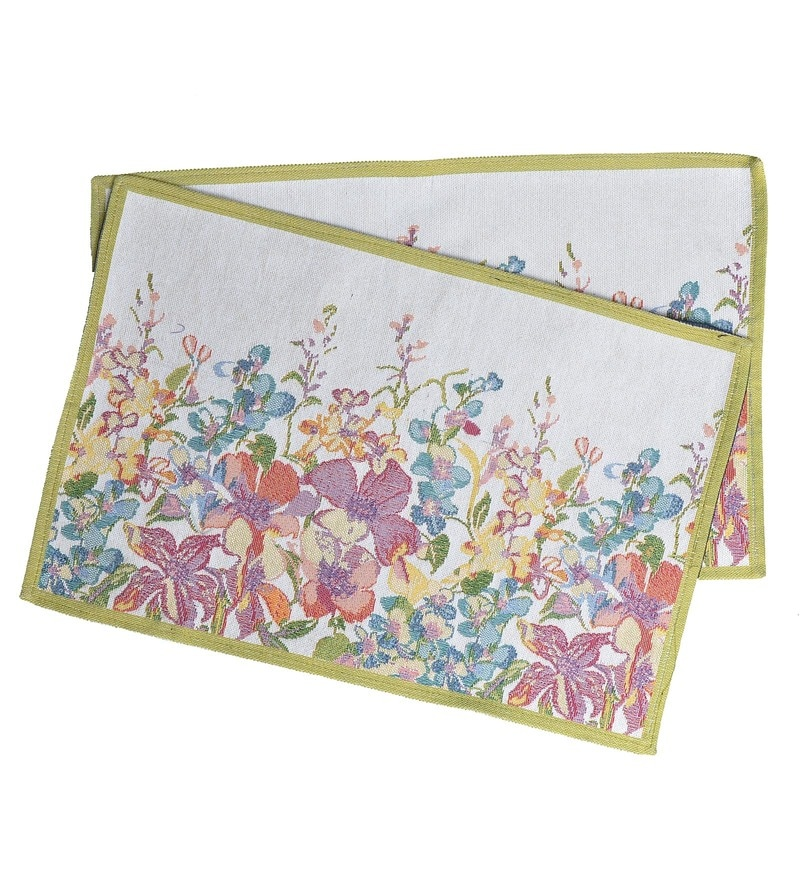 Avira Home Serene Flowers Machine Washable Multicolour Cotton & Polyester Placemats - Set of 2