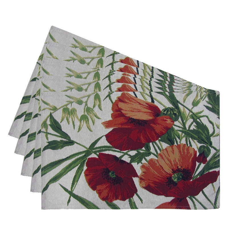 Avira Home Summer Flower Multicolour Cotton & Polyester Placemats - Set of 6