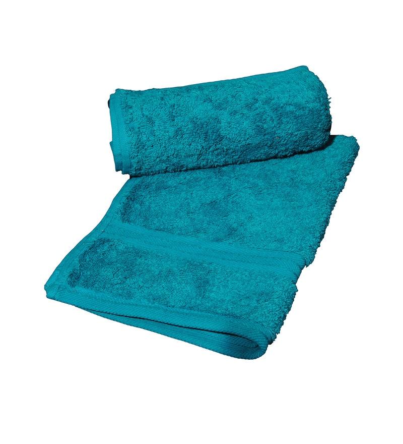 Avira Home Turquoise Blue Cotton Plush Egyptian Hand Towel - Set of 2