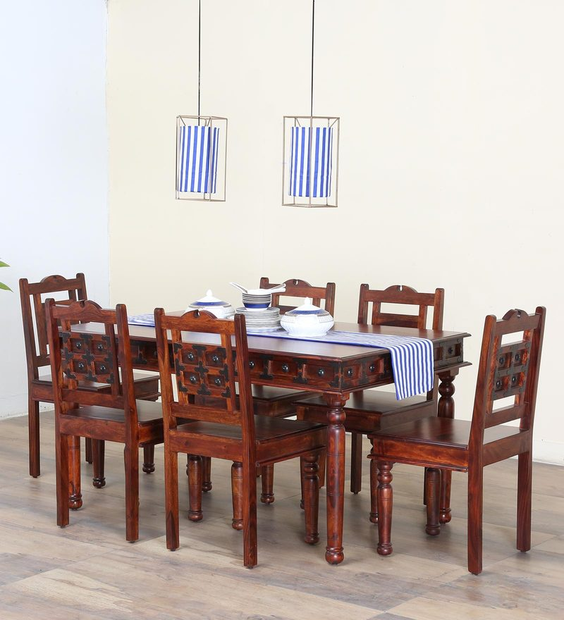 Buy Ayasa Six seater Dining set with Bench in Honey oak Finish by ...