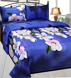 Azaani Multicolour Poly Cotton  Double Size Bedsheet - Set Of 3