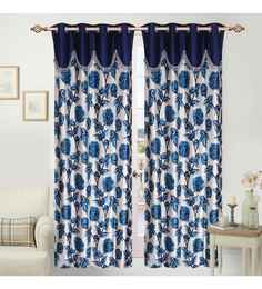 Multicolour Polyester 48 X 84 Inch Sophie Eyelet Door Curtains Set Of 2