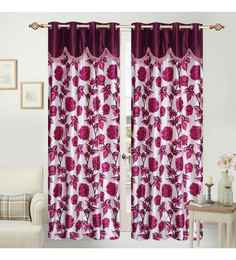 Multicolour Polyester 84 X 48 Inch Sophie Eyelet Door Curtains   Set Of 2