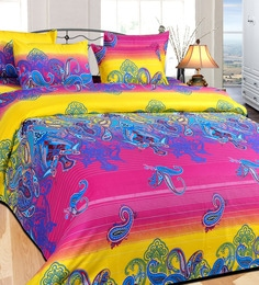 Azaani Ombre Paisley Multicolor Cotton Floral Double Bed Sheet (with Pillow Covers)