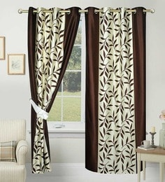 84 X 48 Inch Brown Polyester Door Curtain   Set Of 2