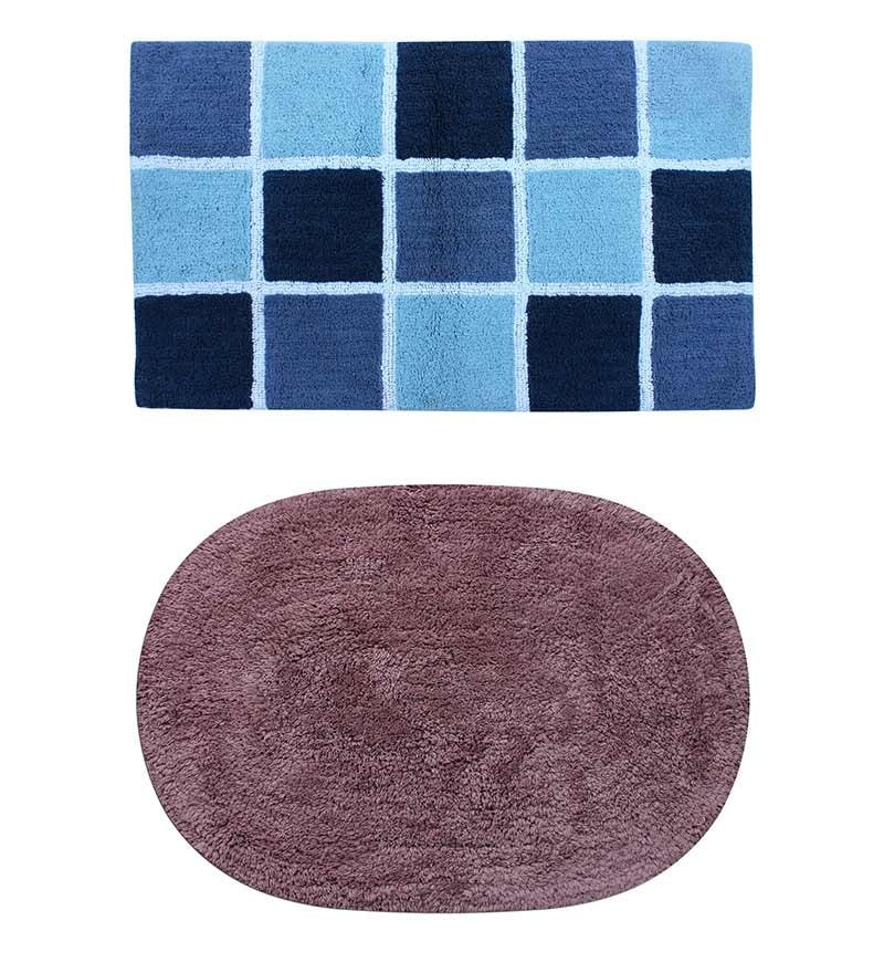 Azaani Blue & Brown 2-piece Bathmat