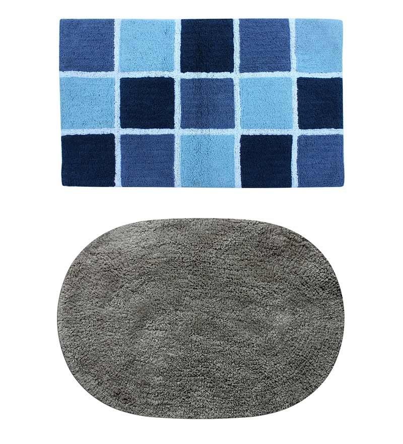 Azaani Blue & Gray 2-piece Bathmat Set
