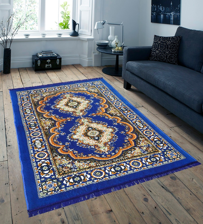 Blue Jute Traditional Design Quilted Carpet by Azaani