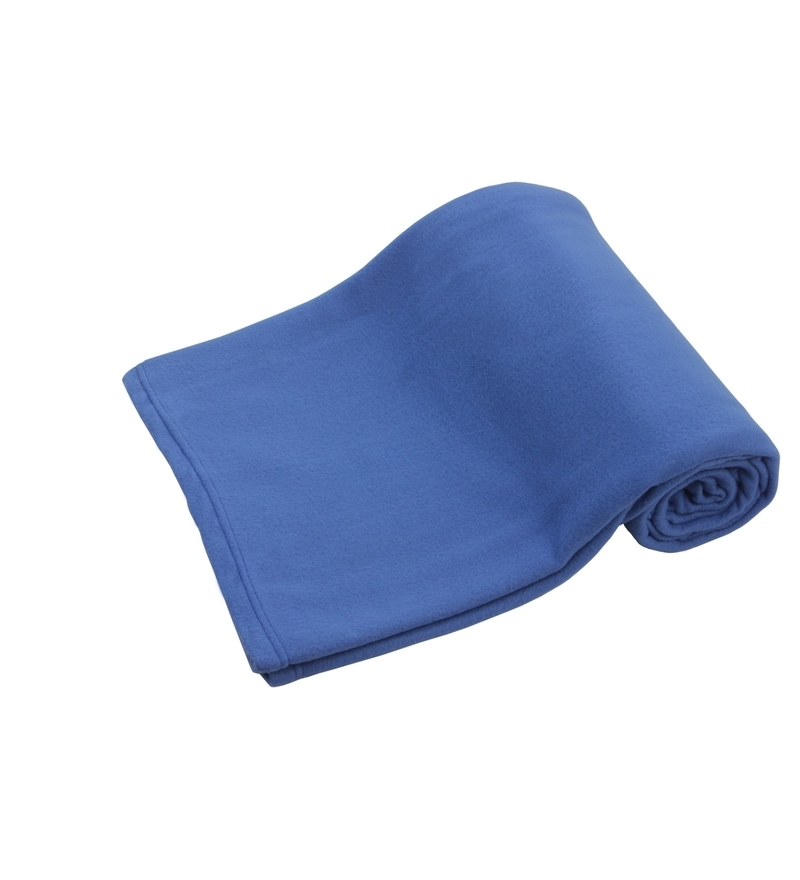 Blue Polyester Single Size Blanket by Azaani