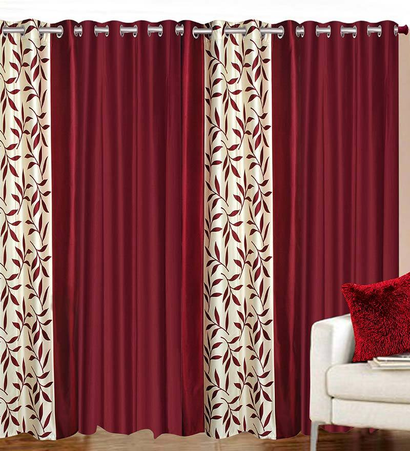 84 x 48 Inch Maroon Polyester Door Curtain - Set of 4 by Azaani