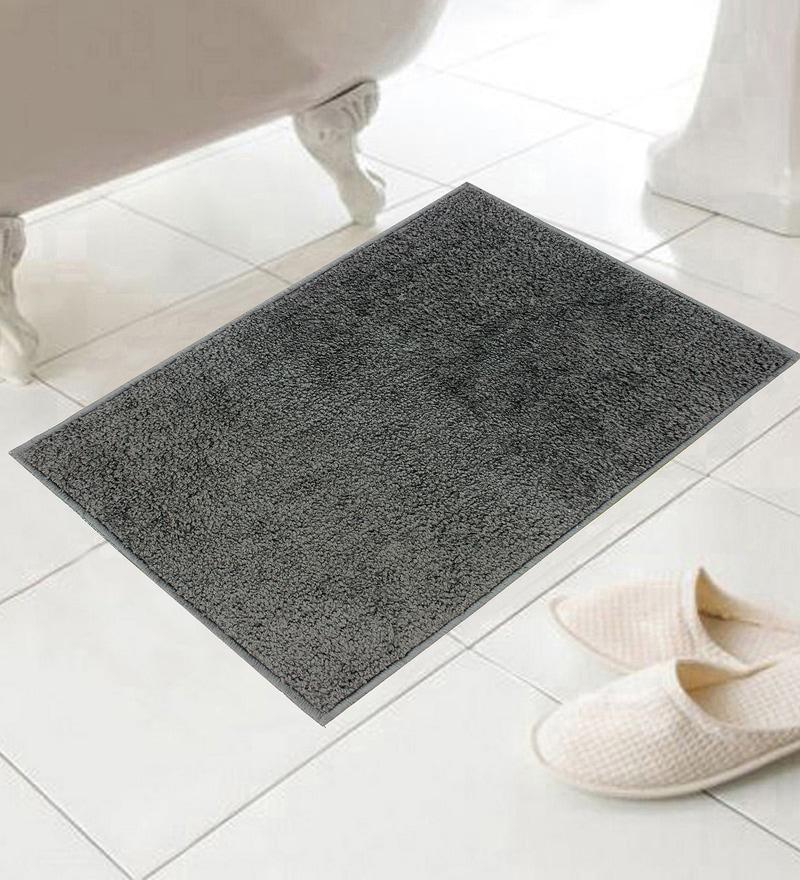 Modish Gray Cotton 24 x 16 Inch Bath Mat - Set of 5 by Azaani