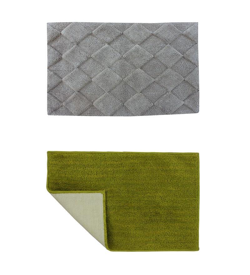 Azaani Gray & Green 2-piece Bathmat Set