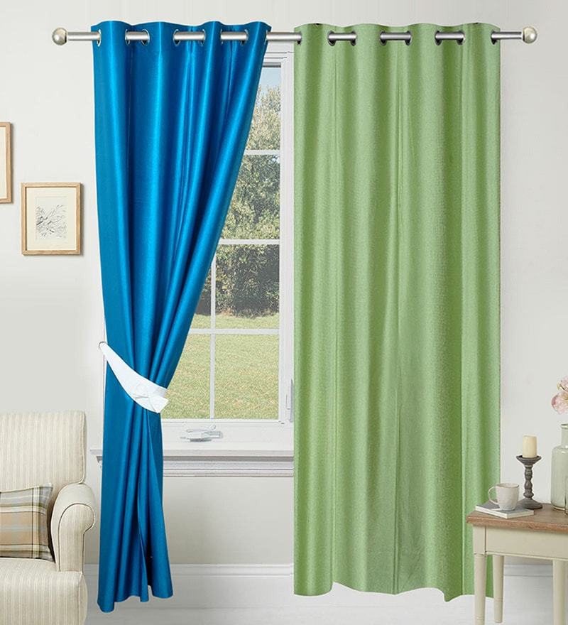 Green and Blue Polyester 84 x 48 Inch Solid Door Curtain - Set of 2 by Azaani
