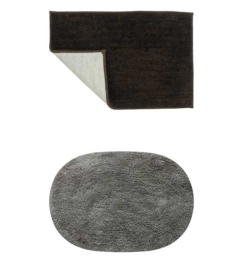 Micro Dark Brown & Gray 2-piece Bathmat Set by Azaani