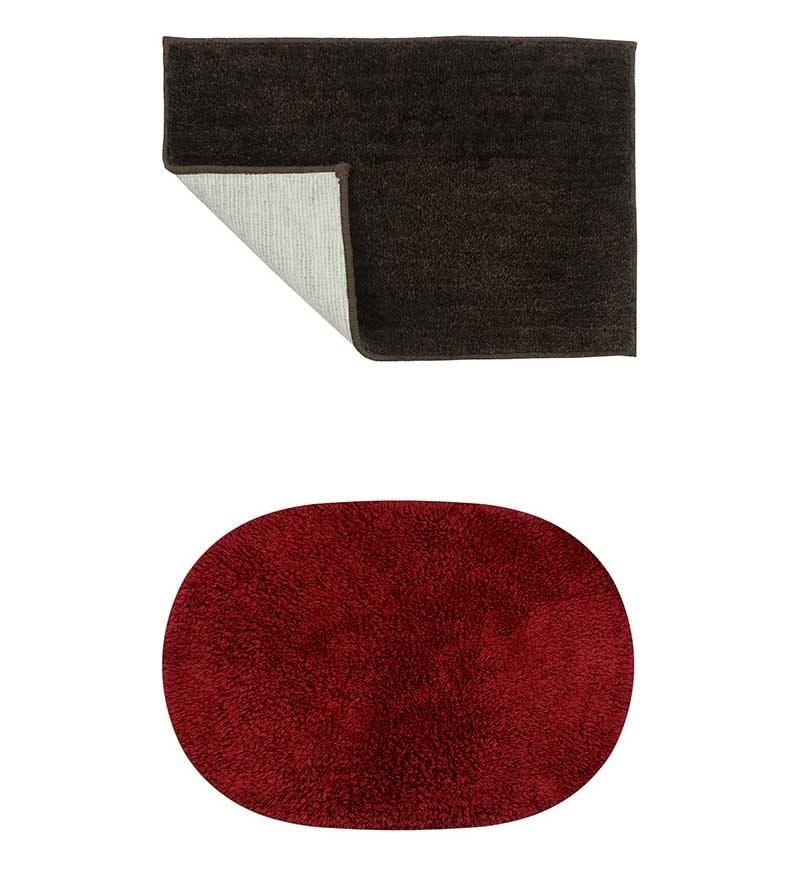 Micro Dark Brown & Red 2-piece Bathmat Set by Azaani