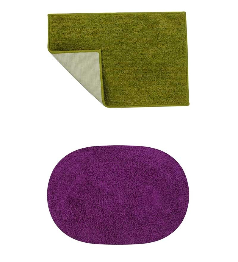 Micro Olive Green & Purple 2-piece Bathmat Set by Azaani
