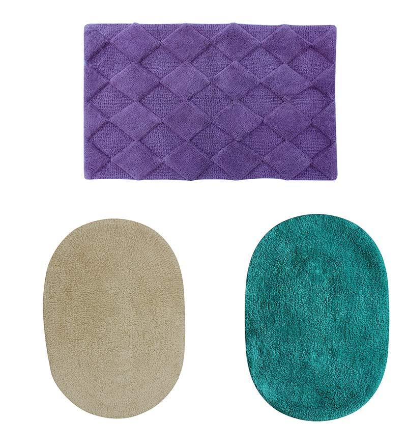 Azaani Blue 100% Cotton Bath Mat - Set of 3