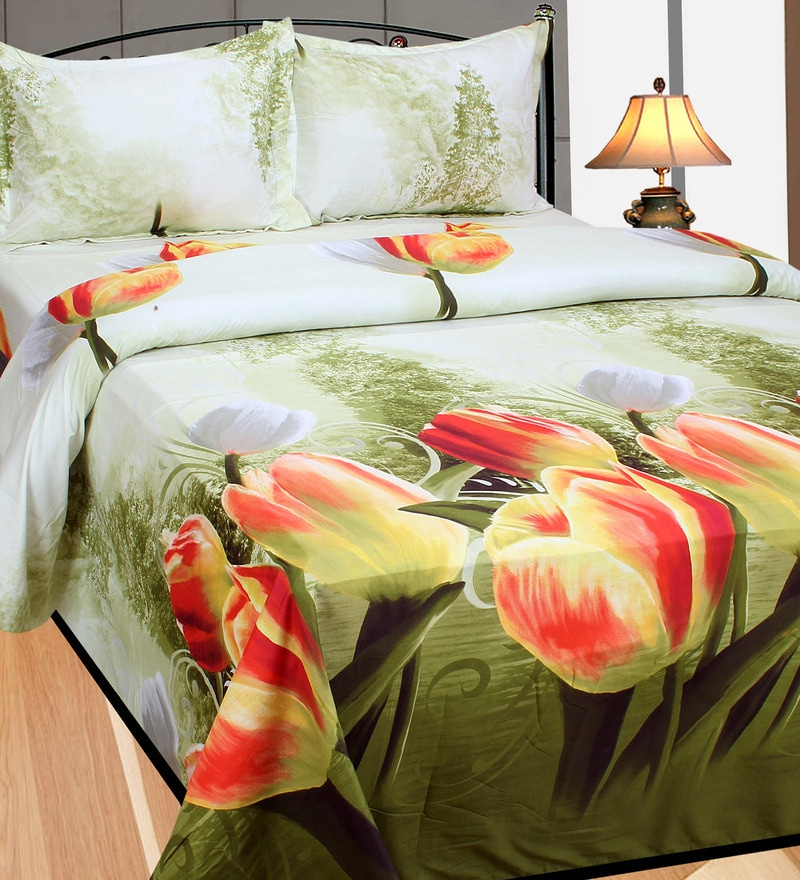 Multicolour Cotton Double Size Bedsheet - Set Of 3 by Azaani