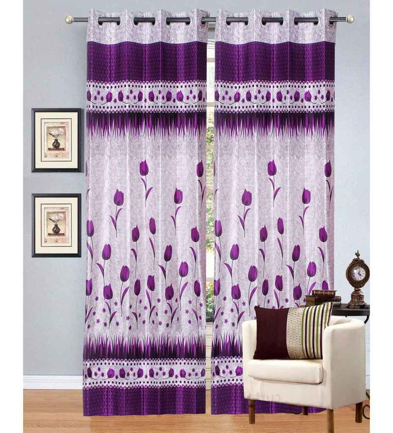 Multicolour Polyester 48 x 84 Inch Tulip Eyelet Door Curtains - Set of 2 by Azaani