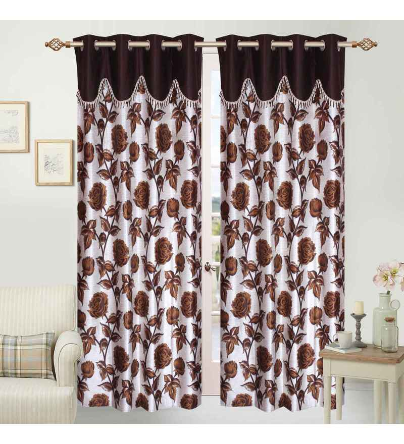 Multicolour Polyester 84 x 48 Inch Sophie Eyelet Door Curtains - Set of 2 by Azaani