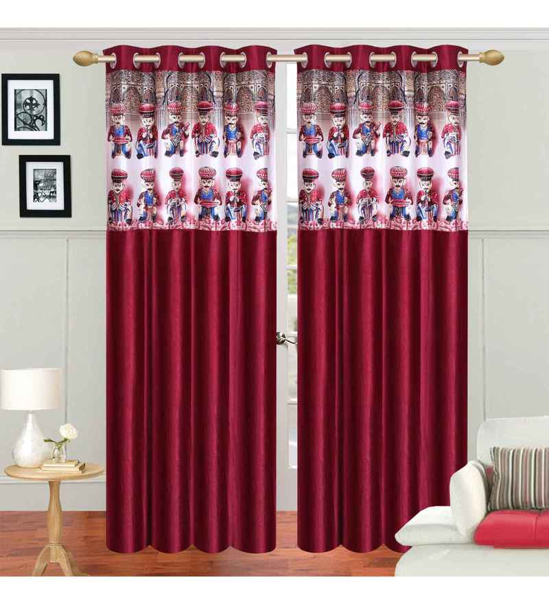 Multicolour Polyester 84 x 48 Inch Traditional Eyelet Door Curtains - Set of 2 by Azaani