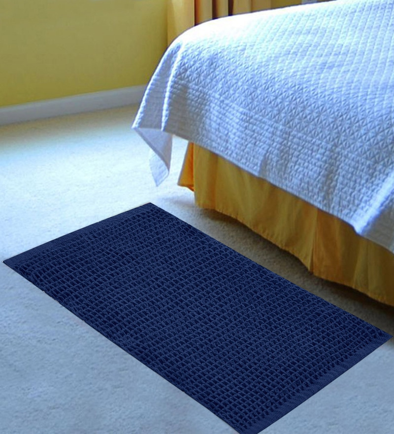 Navy Cotton 36 x 24 Inch Honeycomb Rug by Azaani