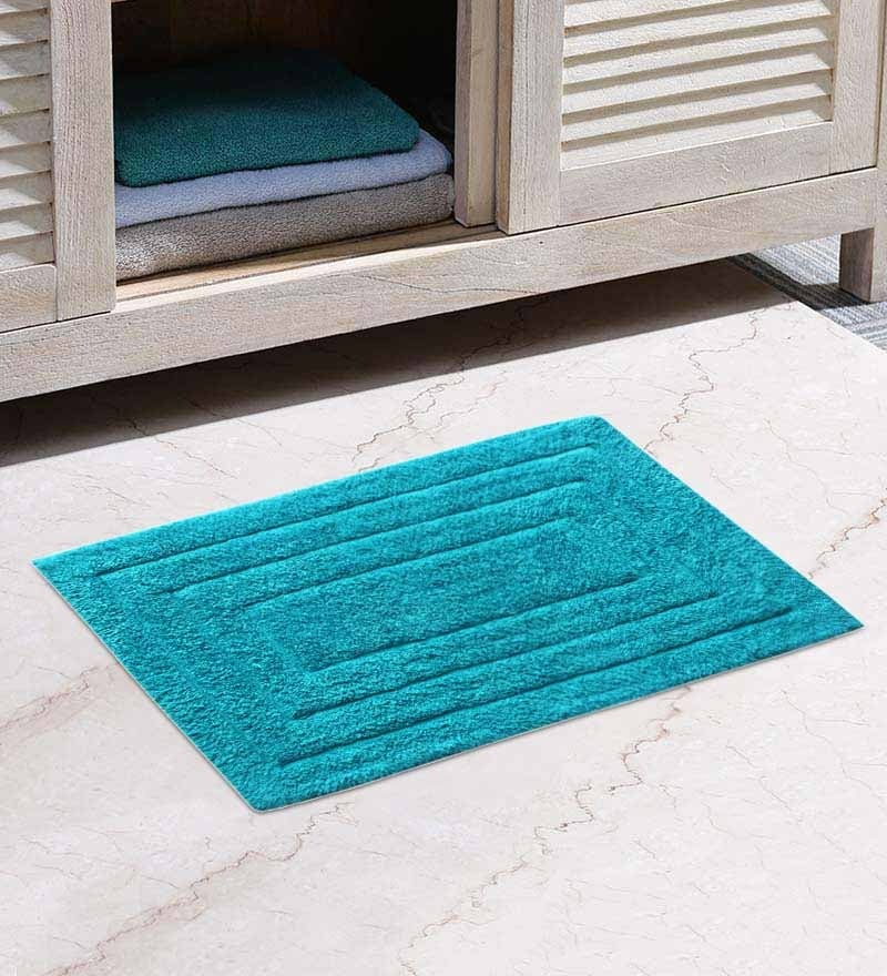 32 x 20 Inch Blue Cotton Bathmat by Azaani
