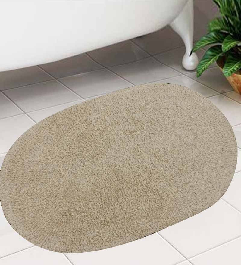 Oval Beige Floormat by Azaani