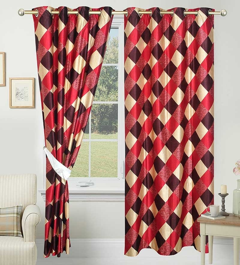 Red Polyester 84 x 48 Inch Geometric Eyelet Door Curtain - Set of 2 by Azaani