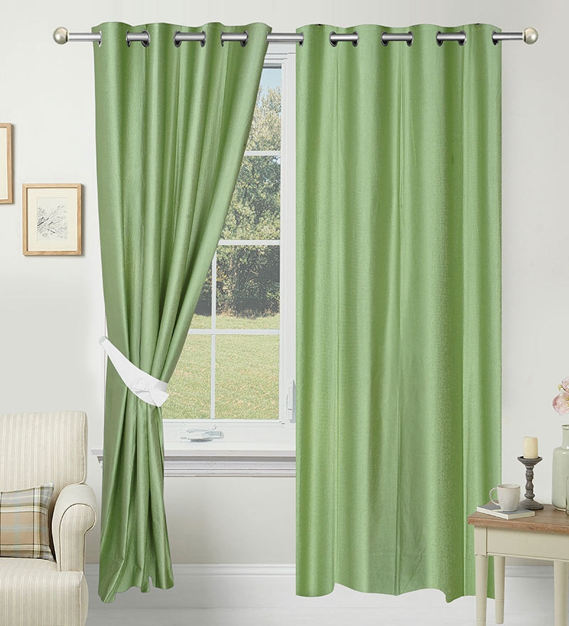 84 x 48 Inch Green Polyester Door Curtain - Set of 2 by Azaani