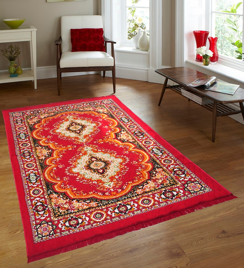 Red Jute 84 x 60 Inch Traditional Design Carpet by Azaani