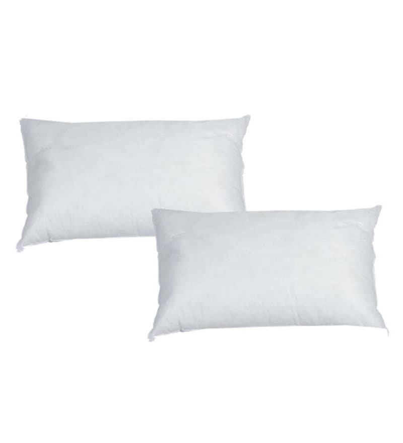 White Polyester 20 x 12 Inch Pillow Inserts - Set of 2 by Azaani