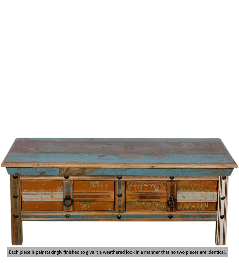 Buy Azealia Solid Wood Coffee Table In Distress Finish By