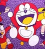 Doraemon King-Size Cotton Bedsheet in Purple with Pillow Covers by Azaani