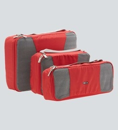 Bags R Us Polyester Red Packing Cubes - Set Of 3,7.7 Litres