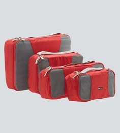 Bags R Us Polyester Red Packing Cubes - Set Of 4,7.7 Litres