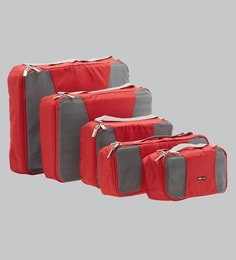 Bags R Us Polyester Red Packing Cubes - Set Of 5,13 Litres