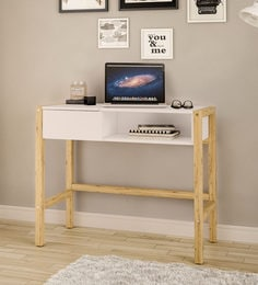 Bahama Study Table With One Drawer And Shelf In White Finish