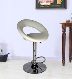 Bar Chair With Chrome Base In White Leatherette