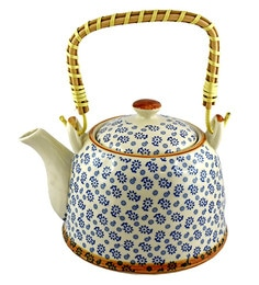 Bar World Blue & White Porcelain 800 ML Teapot With Cane Handle - Set Of 3 - 1601938