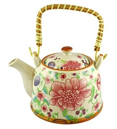 Bar World Multicolour Porcelain 800 ML Teapot With Cane Handle - Set Of 3 - 1601937
